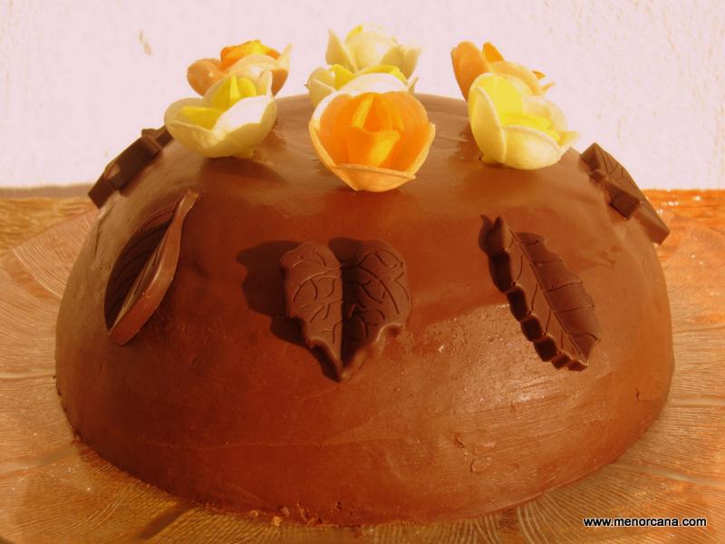 Bomba helada de chocolate y mandarina