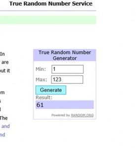 Y una vez efectuado el sorteo con Random.org el ganador ha resultado ser el numero: 61. Isabel Palacio