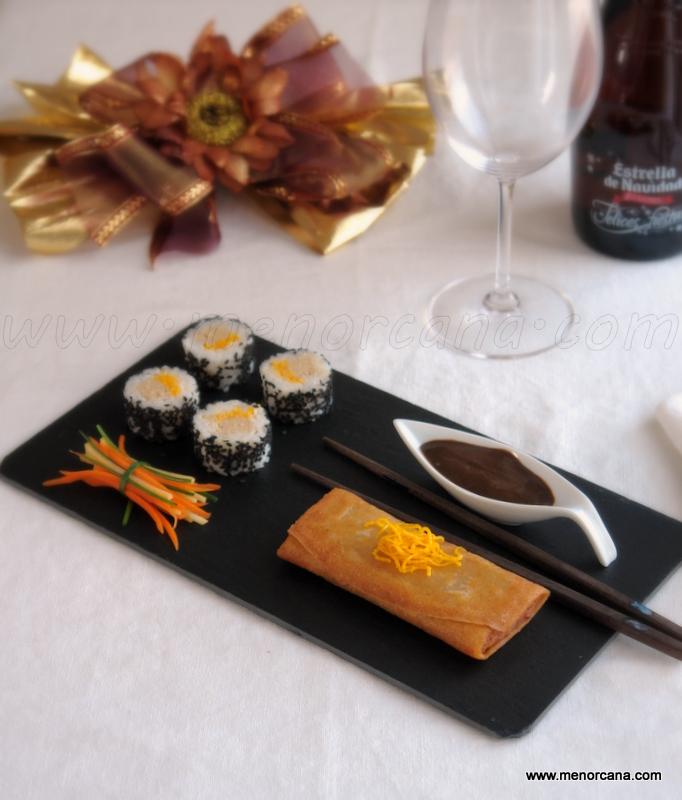 Sushi de foie y rollitos de confit de pato