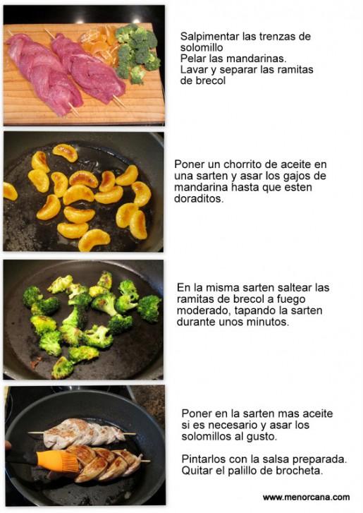 solomillo, mandarinas y brecol 3