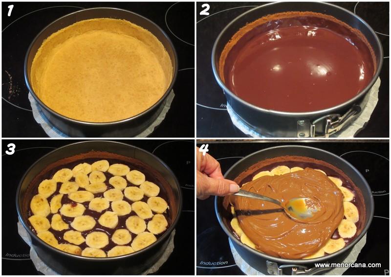 Preparacion paso a paso de la tarta banoffee