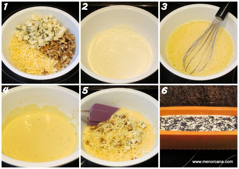 como hacer bizcocho salado con roquefort y nueces