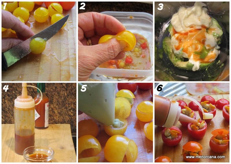 como rellenar tomates cherry con berberechos