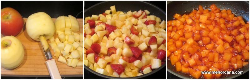 Preparacion del relleno del strudel de manzana y fresas