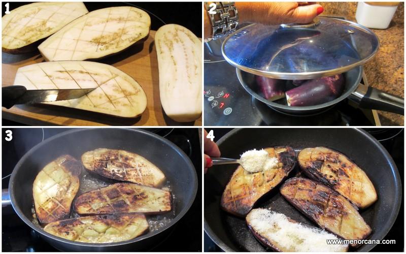 Preparacion de las Berenjenas a la plancha con queso