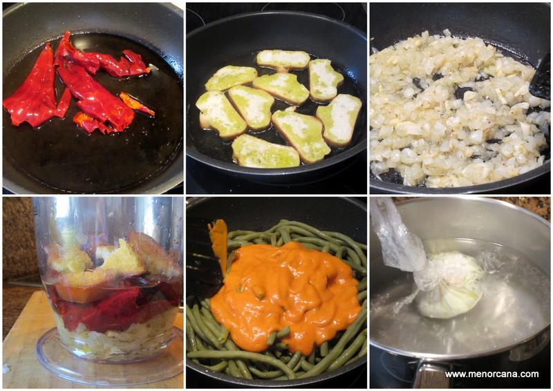 como hacer judias verdes esparragadas con huevo escalfado