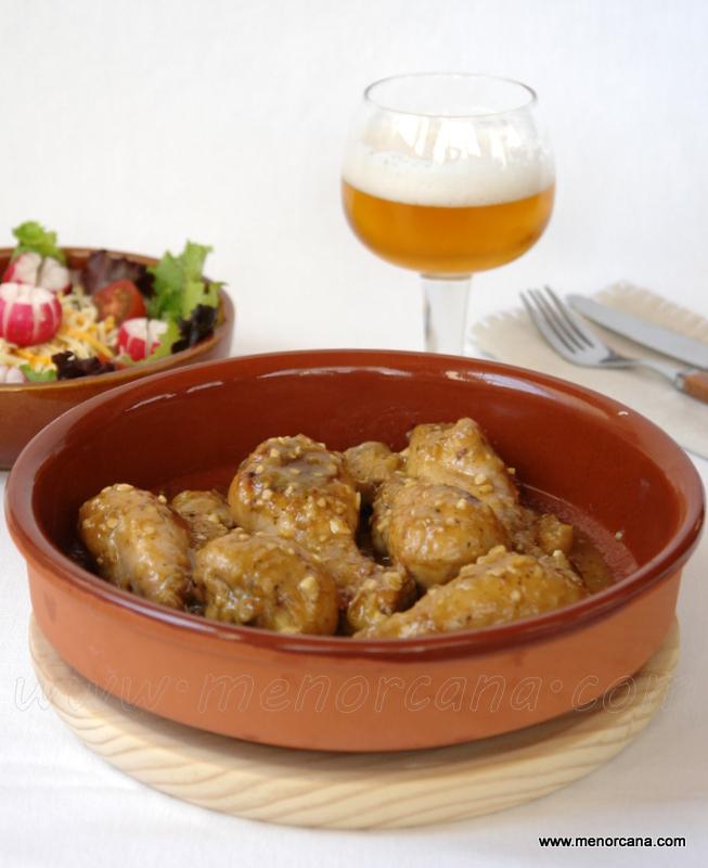 pollo a la cerveza con mostaza y limon