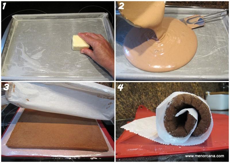 como hacer bizcocho para brazo de gitano de tiramisú enrollado