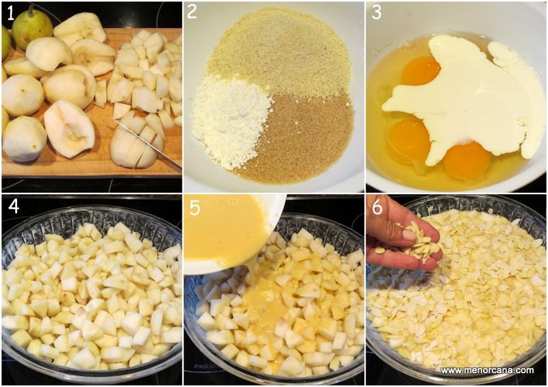 Preparación de la tarta flognarde de peras sin gluten