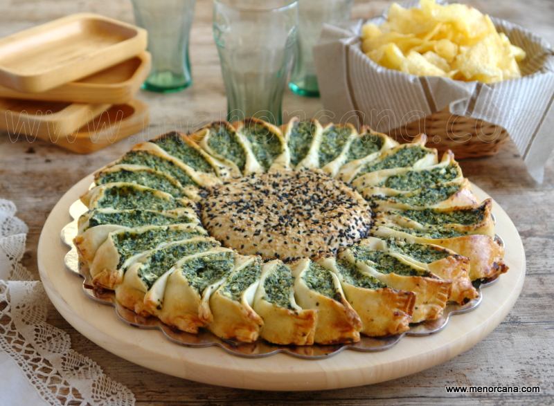 Tarta sol de espinacas con quesos