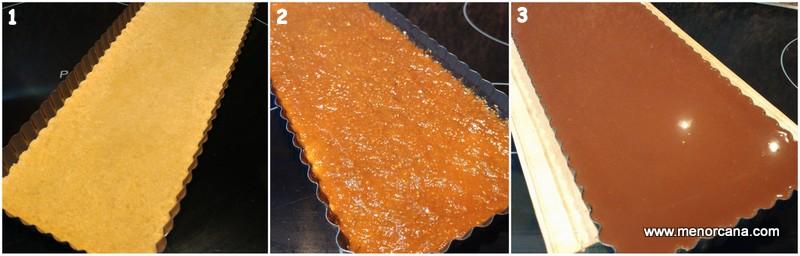 Preparacion de la tarta cremosa de chocolate con higos