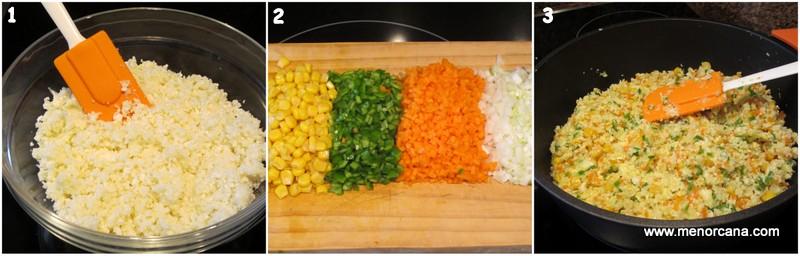 como hacer cuscús de coliflor salteada con verduritas