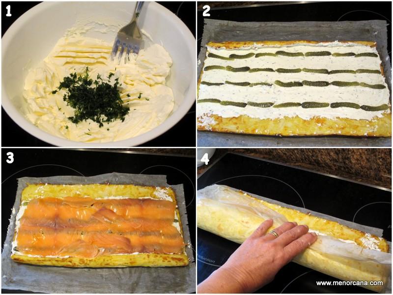 Como hacer rollo de tortilla de patatas con salmon y queso crema