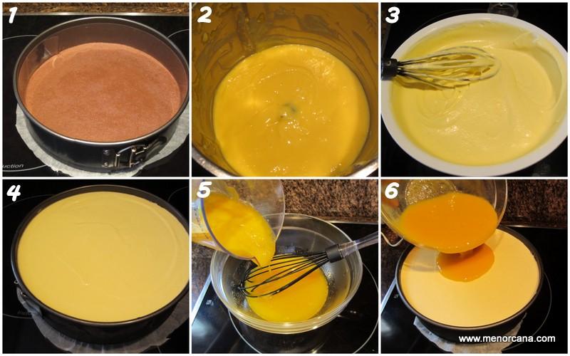 Preparacion de la tarta mousse de mango