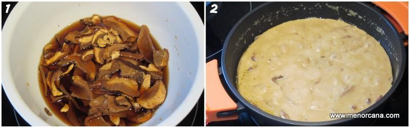 Preparacion de la crema de boletus edulis con foie