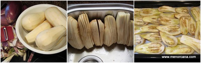 Preparación de las berenjenas a la parmesana