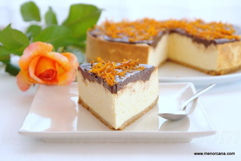 Cheesecake a la naranja y chocolate sin azúcar