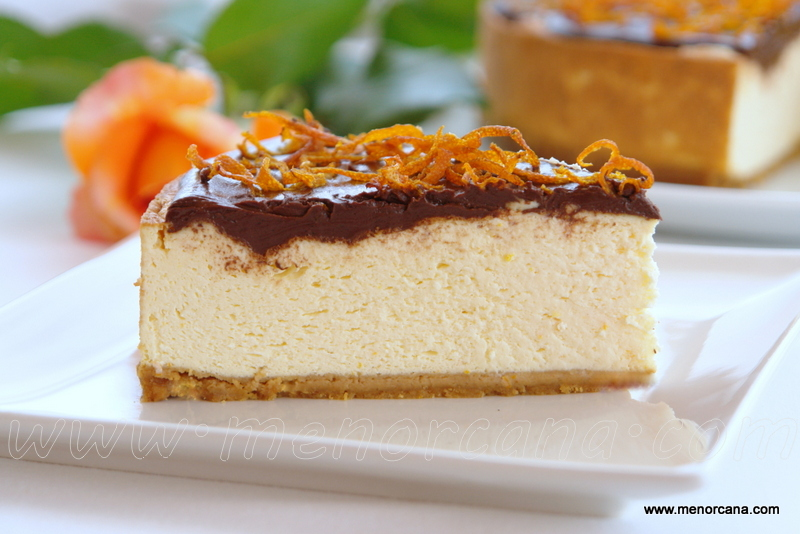 Cheesecake con naranja y chocolate (sin azúcar)