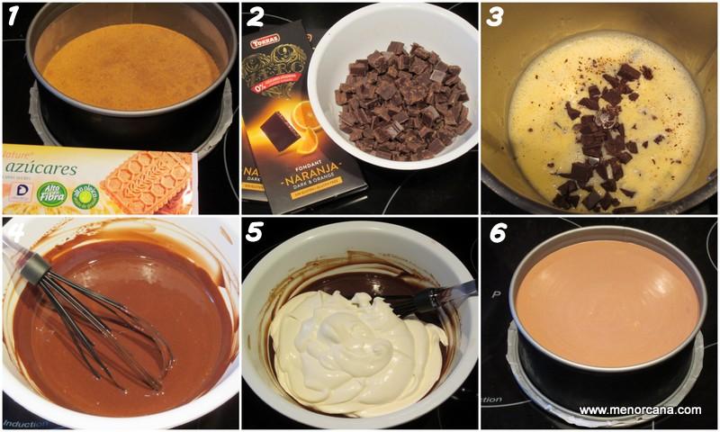 Preparacion de la tarta mousse de chocolate sin azúcar