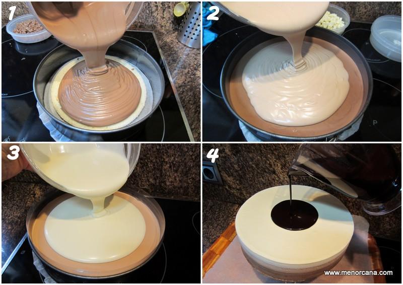 Preparación de la tarta tres chocolates con glaseado brillante