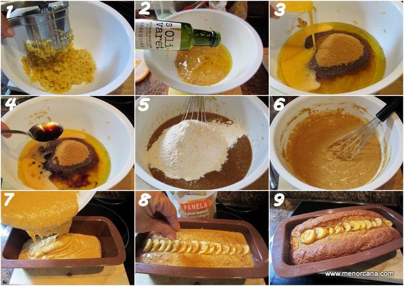 Preparación del bizcocho de plátano