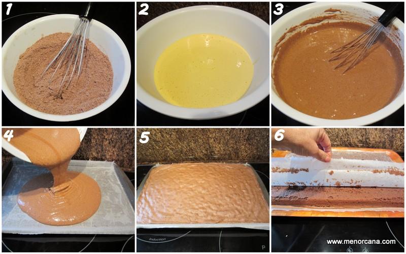 Preparacion del pastel de chocolate y almendras con mousse de turrón