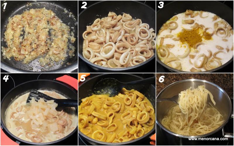 Como hacer curry de calamar con leche de coco, piña y noodles