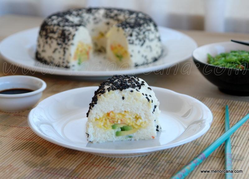 Corona de sushi y nigiri de coliflor