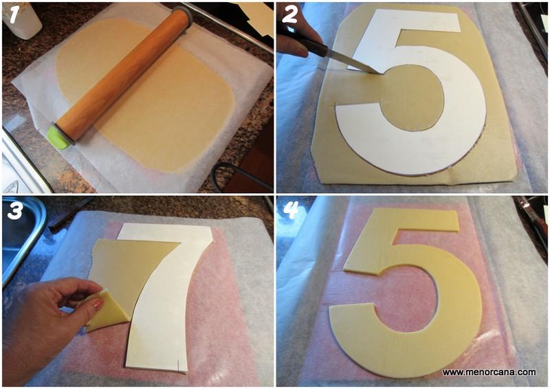 Paso a paso del pastel de números decorado