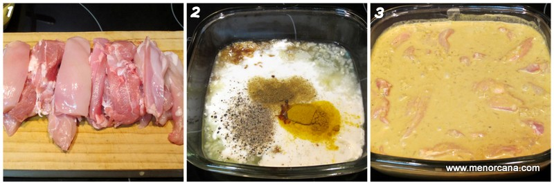 Paso a paso de satay de pollo con salsa de cacahuete