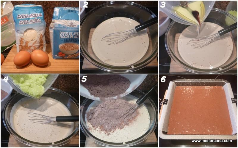 Preparación del bizcocho de calabacín y cacao