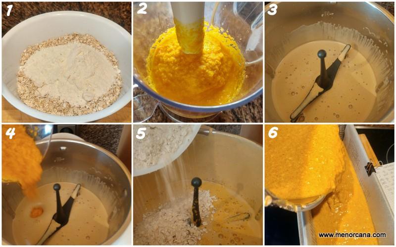 Preparación del bizcocho de zanahoria y avena