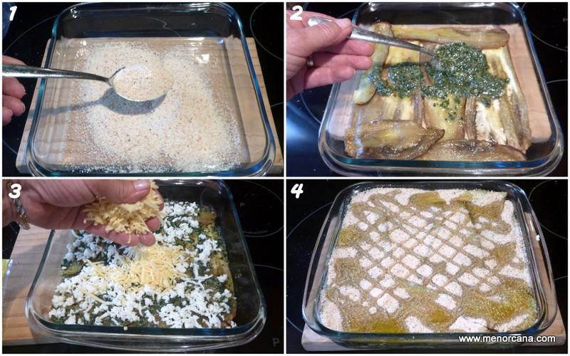 Preparación de la parmesana blanca de berenjenas