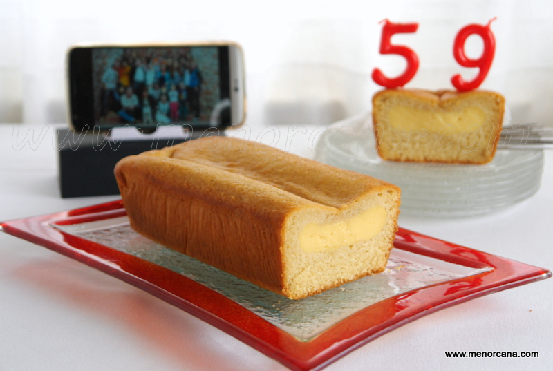 Bizcocho relleno de crema pastelera (torta nua)