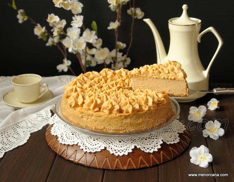 Tarta de queso con crema de cacahuete