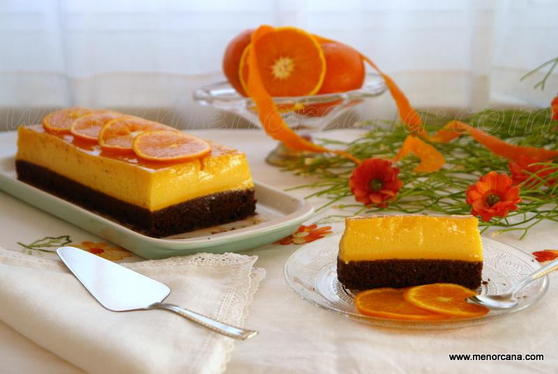 Bizcoflan de chocolate y naranja